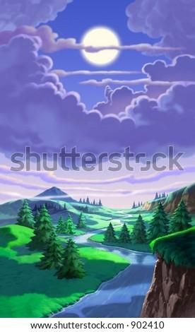 Pine Trees with Moon - stock photo