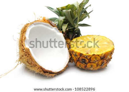 Pineapple and coconut - stock photo