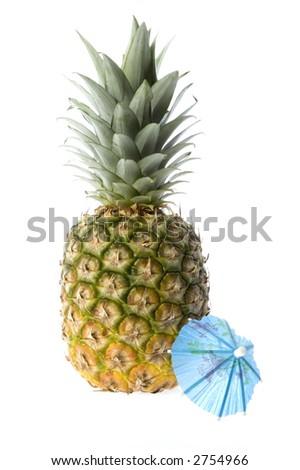 pineapple and drink umbrella - stock photo