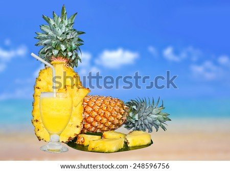Pineapple And Glass of Fresh Pineapple Juice - stock photo