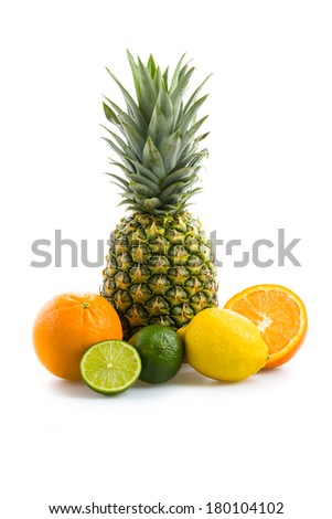 Pineapple and some citrus fruits - stock photo