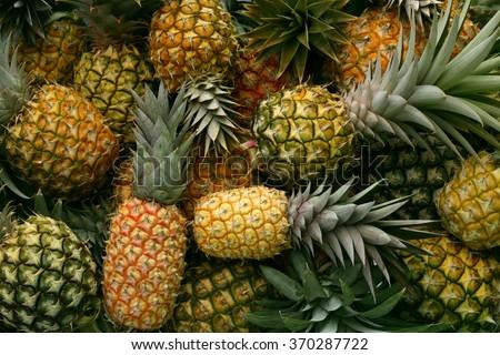 Pineapple background/ hawaiian pineapples background - stock photo