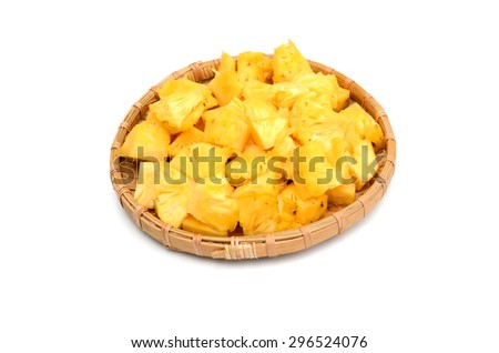 Pineapple chunks isolated on white, clipping path included - stock photo