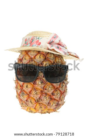 Pineapple Face on White Background - stock photo