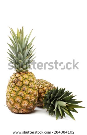 Pineapple fruit isolated on a white background. - stock photo