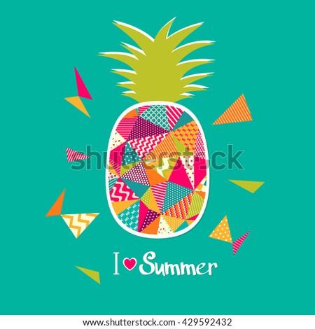 Pineapple illustration. I love summer - stock photo
