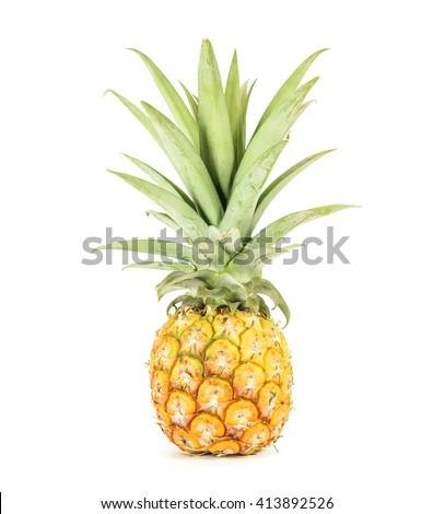 Pineapple isolated on white background. - stock photo