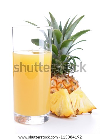 pineapple juice isolated on white - stock photo
