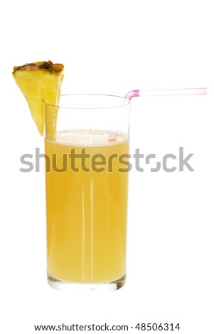pineapple juice with a straw