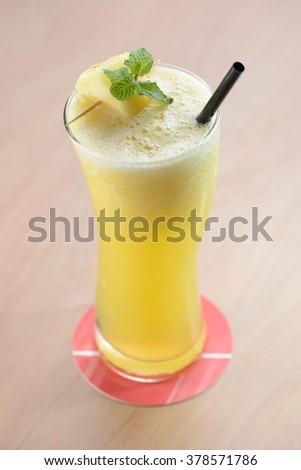 pineapple juice with mint - stock photo