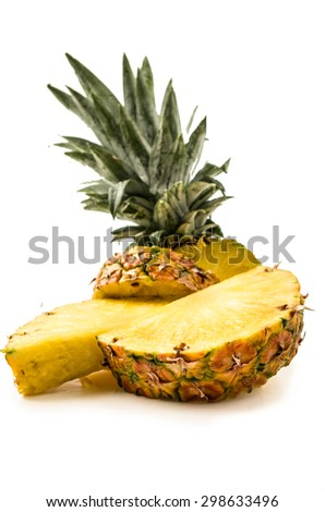 pineapple on a white background studio shot - stock photo
