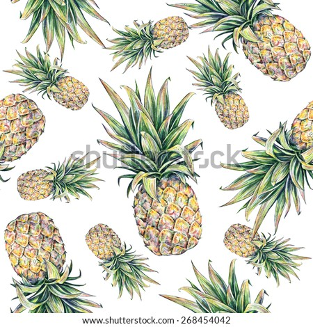 Pineapple on a white background. Watercolor colourful illustration. Tropical fruit. Seamless pattern  - stock photo