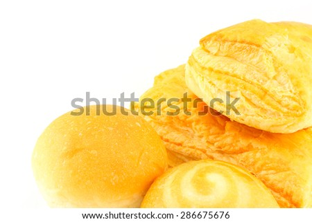 pineapple pie and bread on white background - stock photo