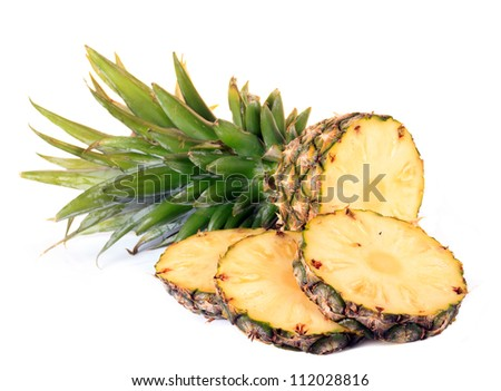 Pineapple sliced  isolated on white background