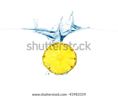 pineapple thrown into the water