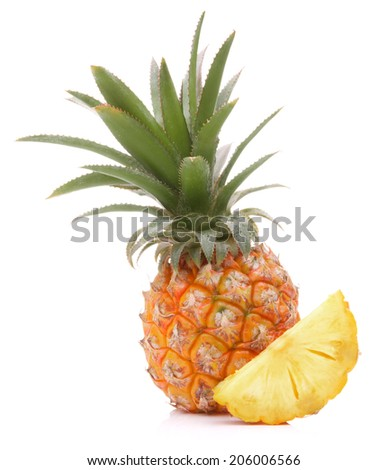 Pineapple tropical fruit or ananas isolated on white background cutout - stock photo
