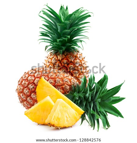 pineapple with slices isolated on white - stock photo