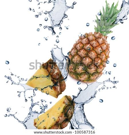 Pineapple with splash isolated on white - stock photo