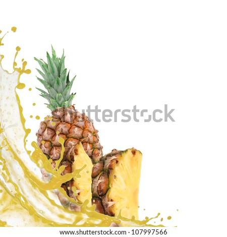Pineapple with splash isolated on white - stock photo