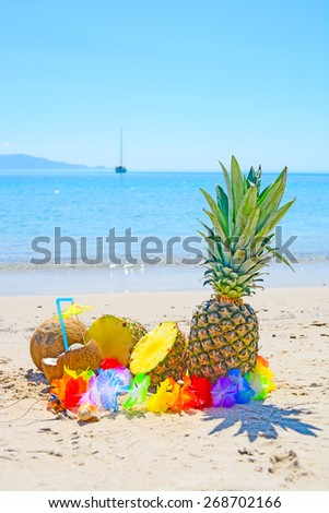 pineapples and coconuts by the shore in a tropical beach - stock photo