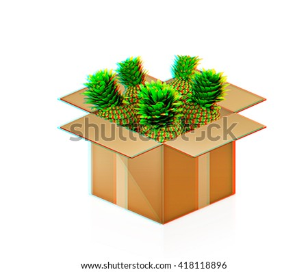 pineapples in cardboard box on a white background. 3D illustration. Anaglyph. View with red/cyan glasses to see in 3D. - stock photo