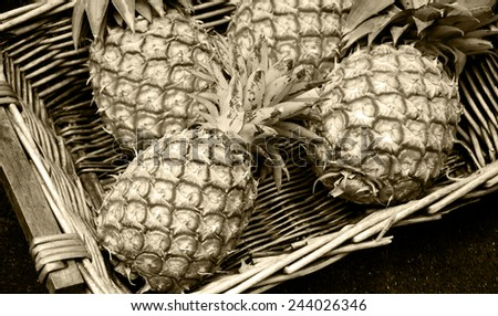 Pineapples in wicker basket at organic farmers market in Paris (France). Aged photo. Sepia. - stock photo