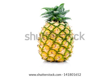 Pineapples Thai fruit Isolated on White background. - stock photo