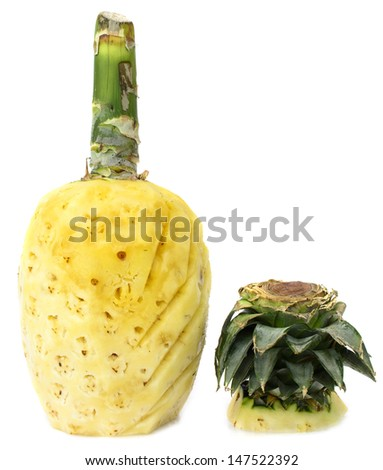 pineapples with cover peeled off isolated on white background - stock photo