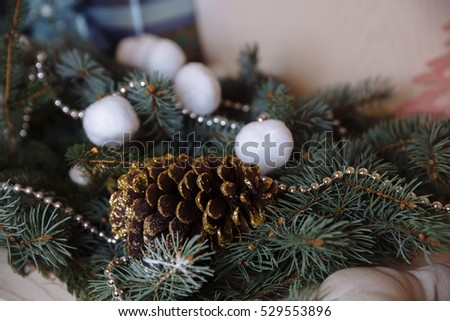 Pinecone on Christmas tree. Concept of holidays, Happy New Year