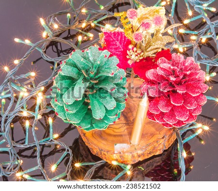 Pinecones decorations on the christmas lights - stock photo