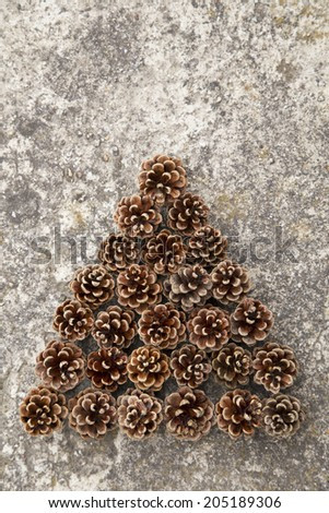 Pinecones on a grunge mortar background - stock photo