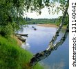 Pinega River in Arkhangelsk region, northern Russia - stock photo