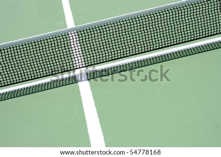 ping pong net and line - green table - stock photo