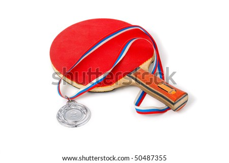Ping Pong. Red wooden Ping Pong Paddles isolation - stock photo