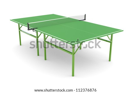 Ping-pong table isolated on white background - stock photo