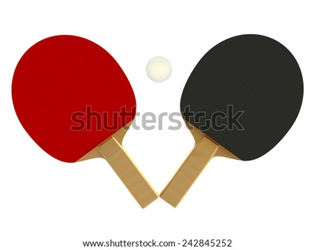 ping pong, table tennis, tennis racket and ball isolated on white