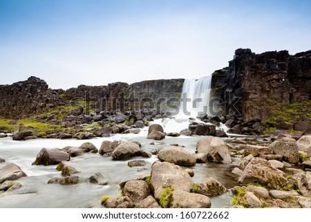 Pingvellir waterfall - stock photo