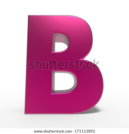 pink ABC, letter B isolated on white background - stock photo