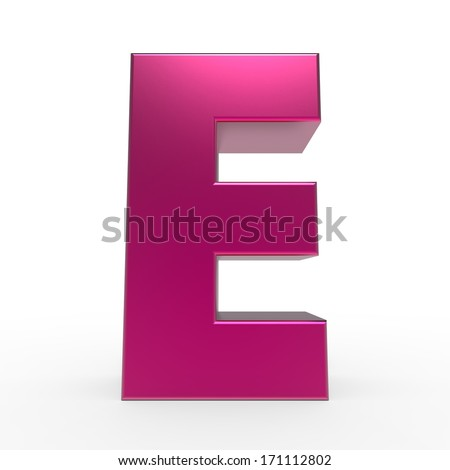 pink ABC, letter E isolated on white background - stock photo