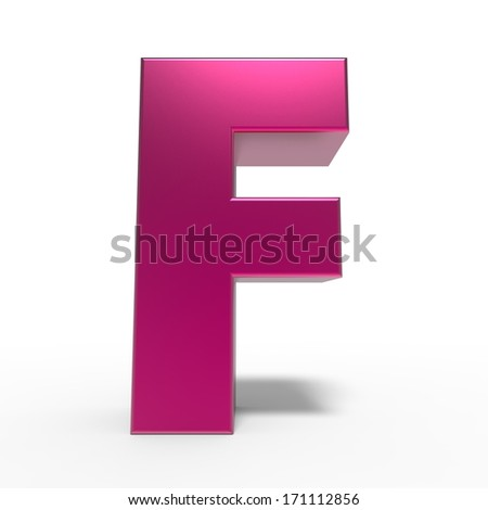 pink ABC, letter F isolated on white background - stock photo