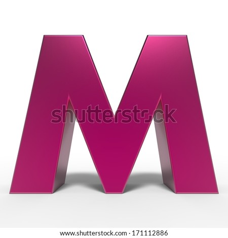 pink ABC, letter M isolated on white background - stock photo