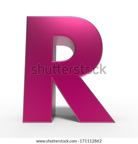 pink ABC, letter R isolated on white background - stock photo
