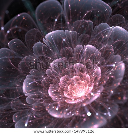 pink abstract flower with sparkles on black background, fractal illustration see more fractal flowers in my portfolio - stock photo