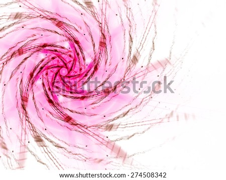 pink abstract fractal fantasy background with light rays - stock photo