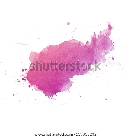 Pink Abstract watercolor art hand paint on white background - stock photo