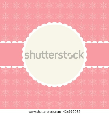 Pink abstract winter background whith elegant frame - stock photo