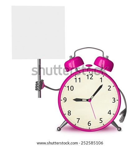 Pink alarm clock character with placard isolated on white - stock photo