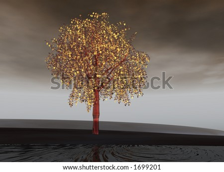 pink aluminium tree with golden leaves - stock photo