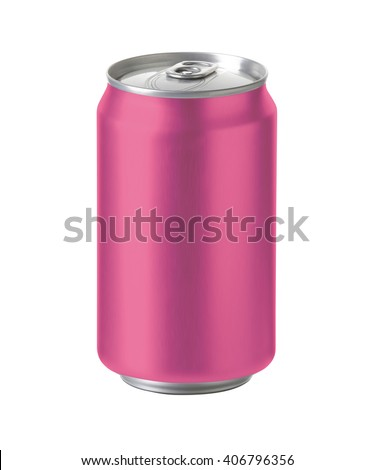 pink aluminum can with blank copy space. ideal for beer, lager, alcohol, soft drink, soda, lemonade, cola, energy drink, juice, cherry etc. Realistic photo image with clip path - stock photo