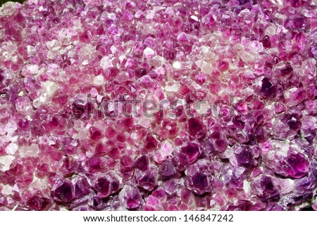 Pink Amethyst Cluster Background - stock photo